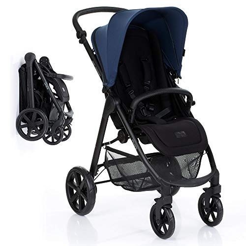 ABC Design Silla de paseo bebe Okini con respaldo reclinable y manillar regulable en altura - Sillita de paseo ligera y compacta, plegado con una mano, hasta 22 kg - Azure Azul