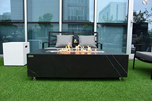 AMS Firepit | Black Carrara Marble Porcelain Fire Table | Propane 60'' L x 28'' W x 17'' H