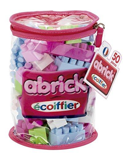 Jouets Ecoiffier -485 - Sac de briques à empiler rose Abrick Maxi – Jeu de construction pour enfants – 50 pièces – Dès 12 mois – Fabriqué en France