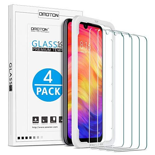 OMOTON [4 Stück] Panzerglas Schutzfolie für Xiaomi Redmi Note 7/ Note 7 Pro/Note 8,mit Positionierhilfe, Anti- Kratzer, Bläschenfrei,9H Härte, HD-Klar, [2.5D Runde Kante]