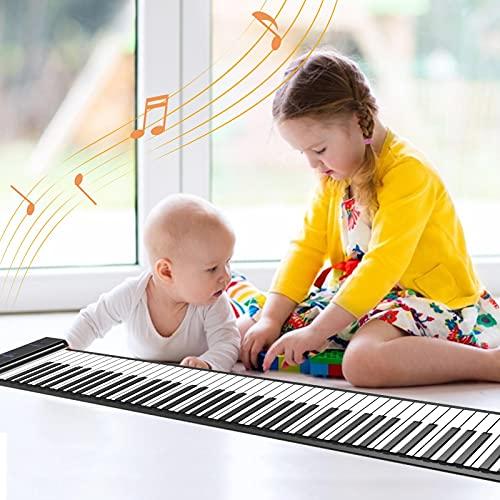 Piano portátil de 88 teclas con batería recargable USB integrada y teclado suave para piano MIDI, teclado de silicona para piano de mano, bocina infantil, adulto, principiante (1,3 kg, 133 x...