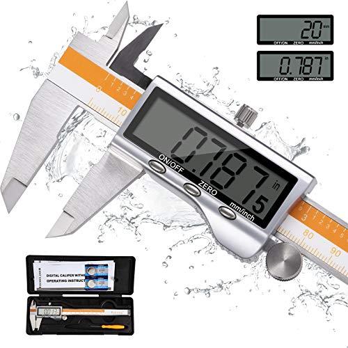 Pied à Coulisse 150mm, Wukong Pied à Coulisse Numérique en Acier Inoxydable avec Grand Écran LCD, Mesure de Diamètre, Calibre Profondeur, pour Mesure de l'industrie Domestique, (IP54 étanche)