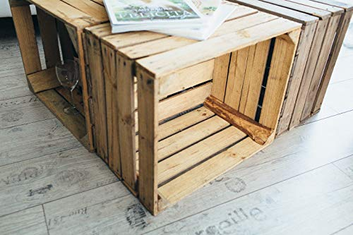 Gebrauchte Holzkisten im Set Angebot: Originale Vintage Obstkisten zum Möbelbau od. als Dekoration, sehr stabile Apfelkisten, geprüft und gereinigt 50x40x30 cm (6er Set) - 4
