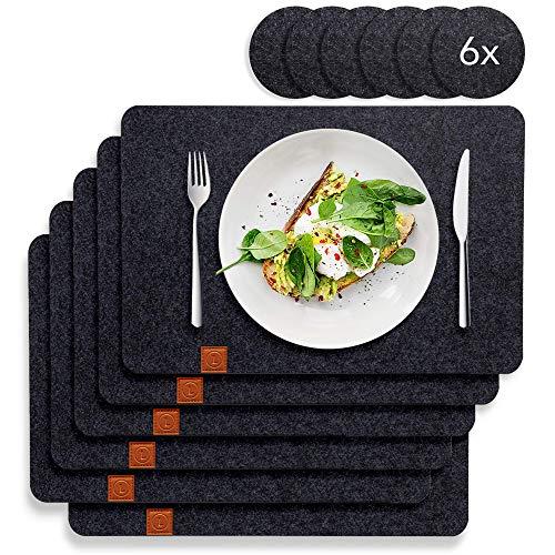 Lindenberg Living Tischset aus Filz mit Rutschfester Rückseite | 6 waschbare Platzsets und 6 Glasuntersetzer | Groß, abwischbar und abwaschbar| Waschmaschinen geeignet | Design Platzdeckchen