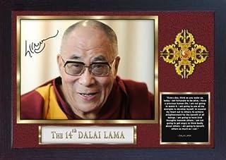 S&E DESING Dalai Lama Firmado póster con autógrafo Impreso, Enmarcado