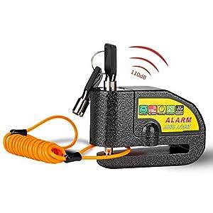 Linkax Candado Moto,110dB Alarma Antirrobo Candado de Disco de Moto con 1.5M Cable,Cerradura con Alarm,Alarm Lock para Motos Motocicletas Bicicletas