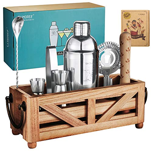 TJ.MOREE Bartender Kit Cocktail-Shaker-Set mit Ständer 11-teiliges Cocktail-Set mit rustikalem Tablett für Mixgetränke, Home Bar Decor Housewarming Gift Bartender Tools