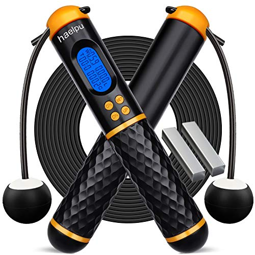 Jump Ropes with Counter Adjustable Digital Counter Weighted Speed Skipping Rope with Weight Calorie Timer Circles for Training Fitness Exercise