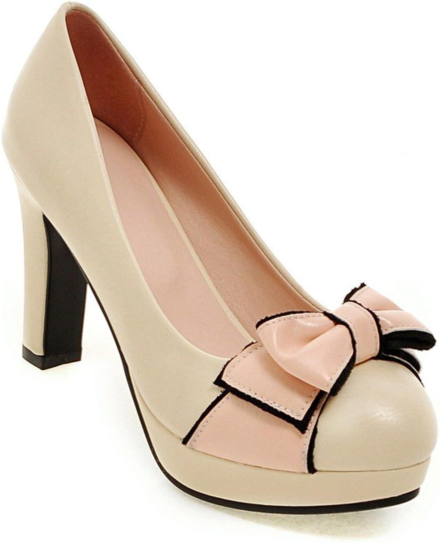 AIWEIYi Womens Patent Leather Sweet Bow Thick High Heels Platform Dress Pumps