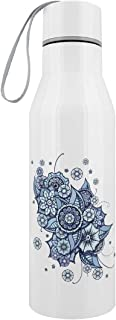Blue Bouquet Stainless Steel Water Bottle White
