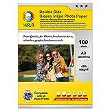 MR.R Papel fotográfico de inyección de tinta recubierto brillante doble de 160 g/m², A3X100 hojas por paquete
