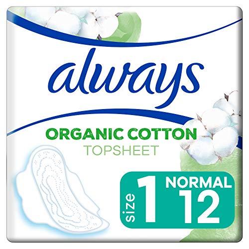Always Ultra Binden Damen Organic Cotton Gr. 1 (12 Damenbinden mit Flügeln) Normal, sicherer Schutz und Tragekomfort, Oberfläche 100% Bio-Baumwolle
