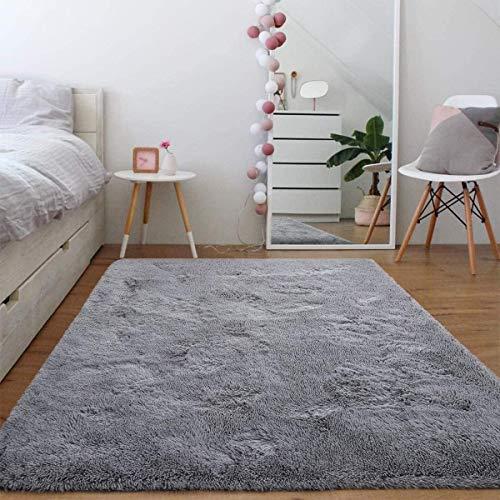Leesentec Teppich Anti-Rutsch Flauschig und Super Weich Seidig Glatt Fell Runder Zottel Teppich für Wohnzimmer Schlafzimmer Home Decor Teppich Teppiche Mat.-Nr. (Grau, 140 x 200 cm)