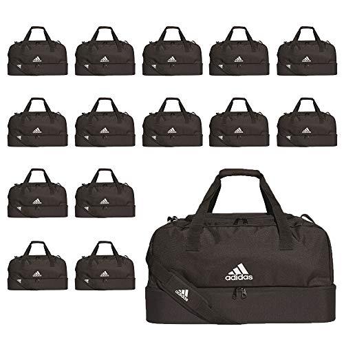 adidas Fußball Tiro Duffelbag mit Bodenfach Sporttasche Gr L 15er Set schwarz