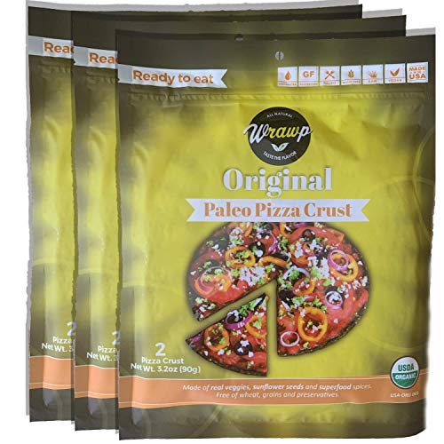 Paleo Pizza Crust | 3 Pack Original Flavored Organic Gluten Free, Dairy Free, Soy Free, Nut Free and Vegan Pizza Crust (Original, 3 Pack)