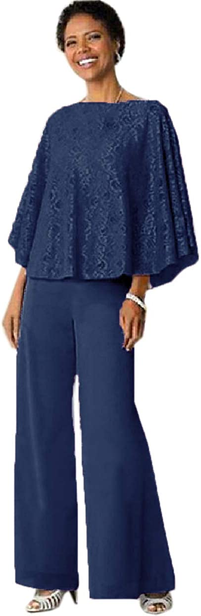 CY 2 Pieces Mother of The Bride Pant Suit Lace Top with Chiffon Pants for Wedding Guest