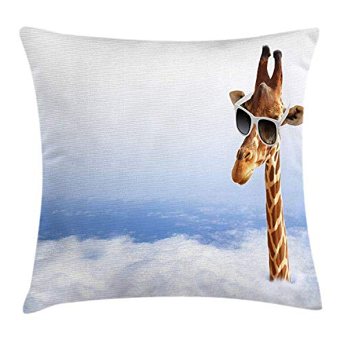 SDLZIJFGHBC Giraffe Throw Pillow Cushion Cover, Funny Long Animal with Its Head Sticking out of The Clouds Glasses Humor, Decorative Square Accent Pillow Case, 18 X 18 Inches, Blue White Caramel