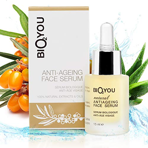Anti-Ageing Vitamin C Face Serum with Hyaluronic Acid Aloe Vera Panthenol Provitamin B5 Seabuckthorn Oil – Anti Wrinkle Treatment for your Skin + Bio Collagen Booster 100% Natural & Organic Cosmetics
