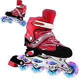 Passer Patines en línea 2 en 1 Patines de 4 tamaños ajustables para principiantes, divertidos patines iluminadores para niños y adultos al aire libre, S