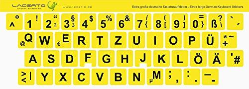 Lacerto®   14x14mm, extra große Zeichen, deutsche Tastaturaufkleber für Sehbehinderte und Senioren, mit mattem Schutzlaminat, Farbe: Gelb