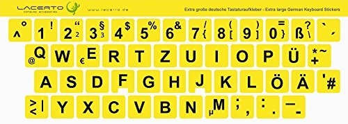 Lacerto® | 14x14mm, extra große Zeichen, deutsche Tastaturaufkleber für Sehbehinderte und Senioren, mit mattem Schutzlaminat, Farbe: Gelb