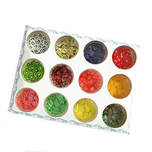 Juego de 12 cajas de 12 piezas para decoración de uñas con frutas, decoración de uñas, fimo y rodajas de polímero, arcilla polimérica, herramientas para bricolaje y cuidado de uñas