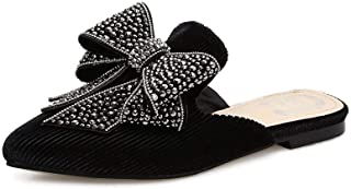 [lsjdln] リボン ミュール スエード ポインテッドトゥ 蝶結び スリッパ 美脚 レディース靴 黒 ラインストーン 装飾 カジュアル 履きやすい ペタンコ 歩きやすい コンフォートシューズ おしゃれ パンプス かかとのない