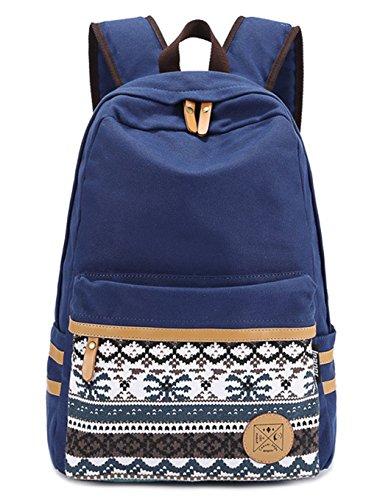 Moollyfox Filles Garçons adolescents Bleu Foncé Toile sac de randonnée de sac d'école Sac à dos multi-fonction - Voyages, scolaire, loisirs