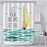 Weeier 72 x 72 inches Fabric Shower Curtain with Hooks Painting Sailing Boat Yellow Sail Tuqruoise Sea Seagull Sailboat Let Your Dreams Set Sail Bathroom Decor Waterproof Machine Washable