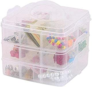 MELIX Layers, Plastic Multi Utility Storage Box with 3 Removable Layers for Jewellery (Multicolour, 18 Grid)