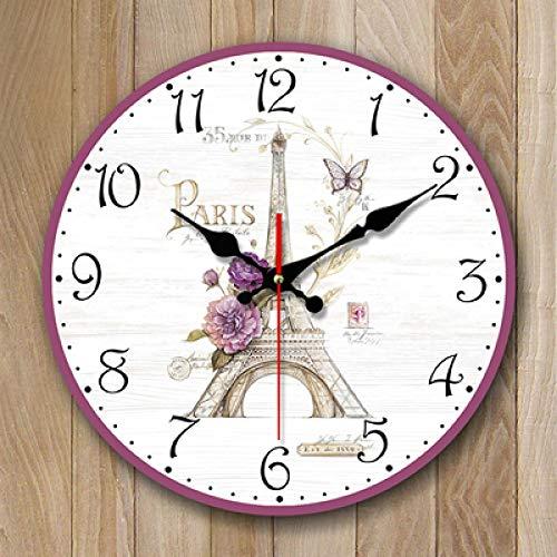 Reloj De Pared Blumen Lila Wanduhr Reloj para Niños Vintage Estilo Pared De Madera Decoración para El Hogar