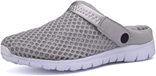 SHENLIJUAN Slippers for Men Summer Sandals Slip-on Outdoor Breathable Mesh Upper Anti-Slip Flat Round Close Toe Backless Lightweight