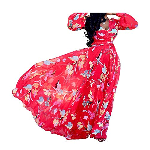 Dora's Womens Chiffon Floral Printed Maxi Dress Long Sleeves Evening Dresses High Waisted Belt Plus Size Red