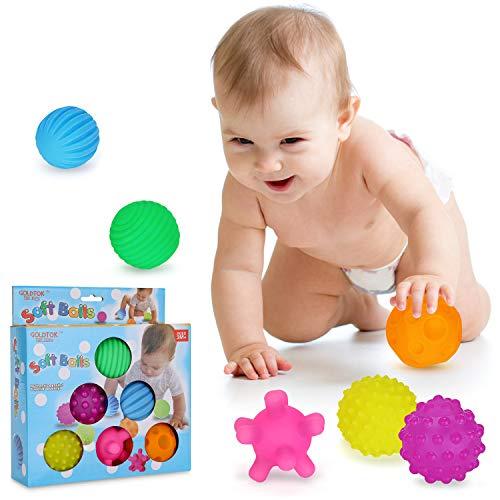 Ucradle Baby Sensorisches Spielzeug, 6PCS Softbälle Buntes Greifball Squeeze Bälle, Weiche Baby Bälle Kleinkinder Beißring, Pädagogisches Spielzeug Badespielzeug ab 3 Jahre