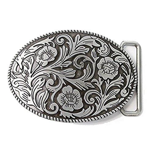 LKMY Unisex Ornate Flowers Western Cowgirl Oval Belt Buckle Silver