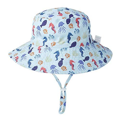 Aibrou baby zonwering cap breedte rand katoen zonnehoed verstelbare kinriem kleine kinderen zachte muts strandhoed voor jongens en meisjes