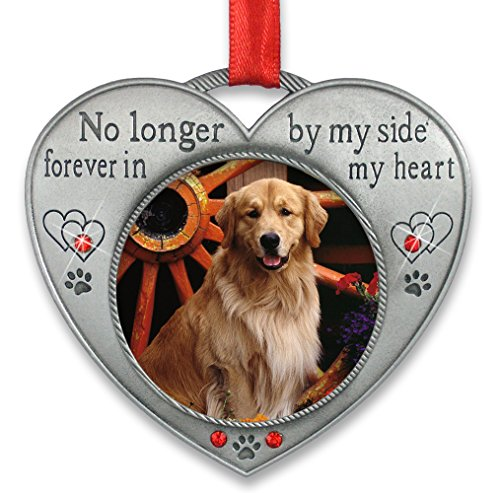 BANBERRY DESIGNS Pet Memorial Picture Ornament - No Longer by My Side - Heart Shaped Photo Frame Ornament - Loss of a Pet - Pet Sympathy