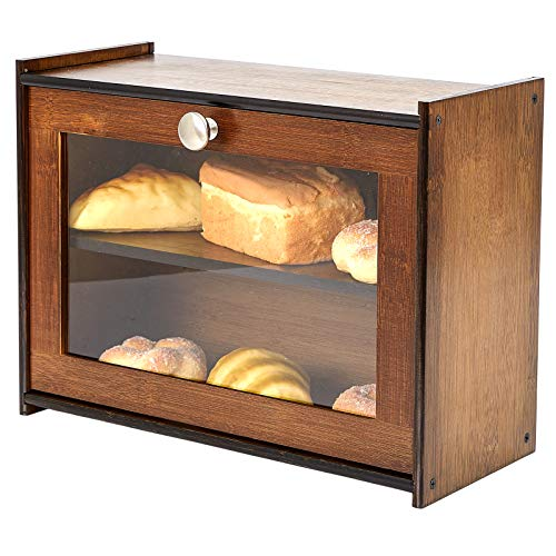 2 Tier Bread Box with Clear Window, Natural Bamboo Rustic Bread Storage Box for Kitchen Countertop, Adjustable Space Size Bread Bin, Retro Brown (Self-Assemble)