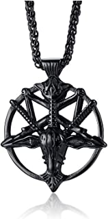 XUANPAI Church of Satan Necklace, Satanic Leviathan Cross Gothic Wiccan Amulet Jewellery Baphomet Goat of Mendes Devil Sea...