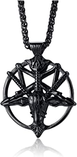 VNOX Church of Satan Seal of Baphomet Satanic Goat of Mendes Goat Head Devil Pendant Lucifer Necklace,Inverted Pentagram Amulet Jewelry