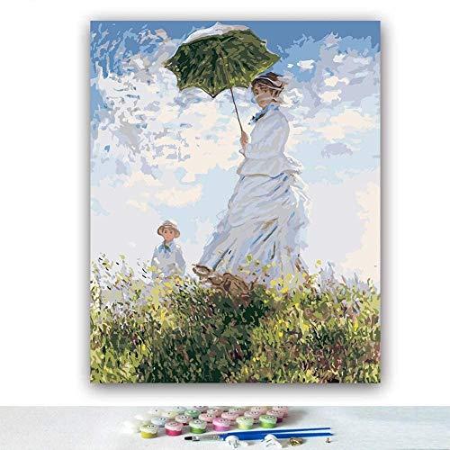 AREABP Malen nach Anzahl Kits 16 x 20 Zoll Leinwand DIY Ölgemälde für Kinder Studenten Erwachsene Anfänger mit Pinseln und Acrylpigment-Frauen mit einem Sonnenschirm-Madame Monet und ihrem Sohn