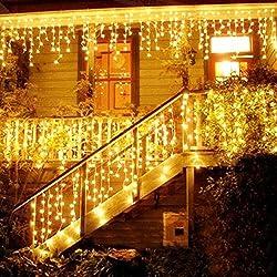 LED Light Curtain, LED Fairy Lights, 216 LED 5M Ice Rains / Icicles Fairy Lights, LED String Lights, Fairy Lights, Christmas Lights, Christmas Decorations, Christmas INTERIOR and EXTERIOR, Warm White