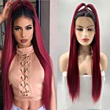 WIWIWIG Long Burgundy Straight Wig 1b 99J Lace Front Wigs with Baby Hair Wine Red Ombre Black Roots Synthetic Fiber Hair for Women
