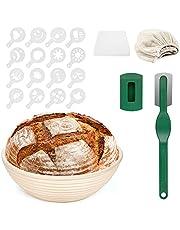 yumcute Cesta Fermentacion Pan Banneton Redondo 900 g Cesta de fermentación de pan de ratán natural (Tela de Lino, Raspador de Masa, Cuchilla de Pan, 16* Molde de Decoración)