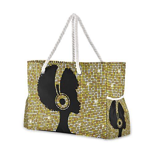 Mnsruu Bolsa de playa XXL, bolso de playa afro para niña, asas de cuerda de algodón para mujer