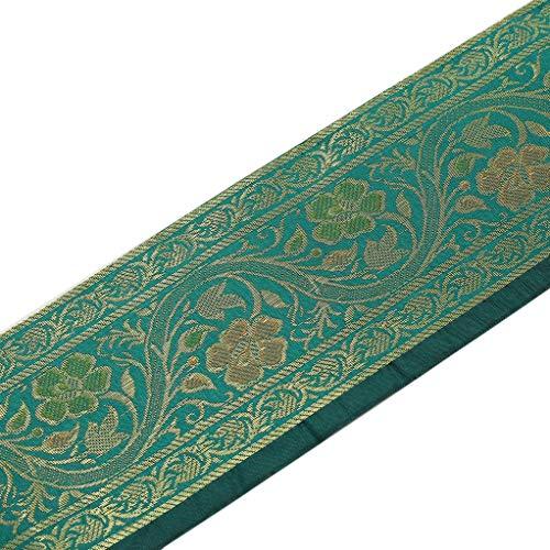 Zari-Band, gewebt, indische Kunstseide, Bordüre aus Brokat, ca. 3 m, Blaugrün