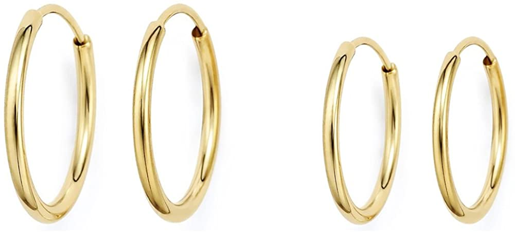 14k Gold Thin Continuous Endless Hoop Earrings, Two Pair Set of Popular Sizes 10mm and 12mm