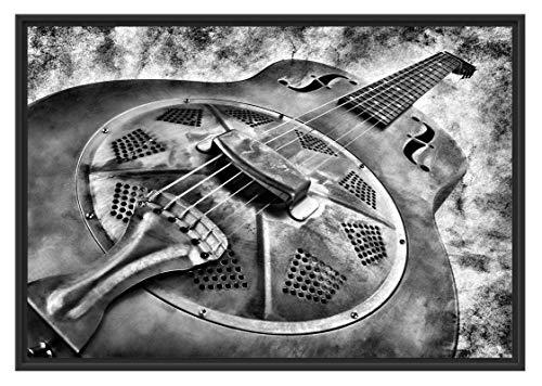 Prachtige oude gitaar in schaduwvoeg fotolijst | kunstdruk op hoogwaardig galeriekarton | hoogwaardige canvasafbeelding alternatief 100x70