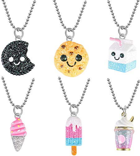 Tacobear 6pcs Cute Necklace for Girls Candy Color Ice Cream Milk Box Biscuit Pendant Necklaces Princess Pretend Play Jewellery Kids Friendship Necklace Party Bag Fillers Gifts for Little Girls