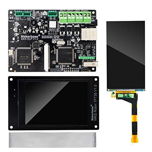 pedkit 3D Mainboard Printer Parts,Mks Dlp Controller Mainboard with Mks Robin Tft 35 Display 5.5Inch 2K Sharp Screen Cable Set for Dlp Uv SLA 3D Printer